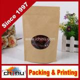 Food Grade Aluminum Foil Side Gusset Kraft Bag with Window (220078)