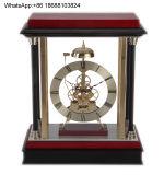 Hourly Strike Skeleton Wooden Desk Clock