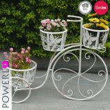 Antique White Bicycle Plant Stand Outdoor Decoration