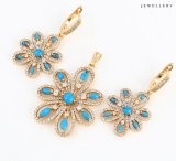 64006 Wholesale Fashion Flower Design CZ Jewelry Set with Blue Stone