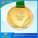 Wholesale Provide High Quality Metal Rio Sports Gold Medallion with Ribbon (XF-MD15)