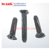 DIN7513 DIN7516 Slotted Oval Head Thread Cutting Screws Ni Plated