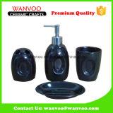 4-Piece Custom Made Oval Black Bath Accessory Set for Home Usage