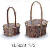 Natural Oval Wooden Flower Basket Handle for Home and Garden Decoration