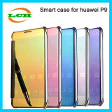 Electroplating Smart Mirror Flip Cover Case for Huawei P9