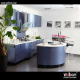 2016welbom Chinese High Gloss Curved colorful Kitchen Furniture