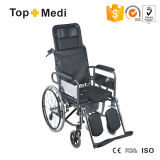 Cheap Commode High Back Foldable Wheelchair with Steel Frame