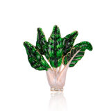 China Wholsale White Gold Plated Vatagtable Green Enamel Brooch