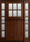 Exterior Stained Mohagany Prehung Craftsman Solid Wooden Doors with Side Lites