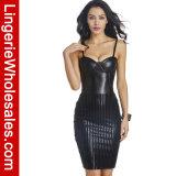 Women′s Faux Leather Zipper Back Shapewear MIDI Dress Sexy Lingerie Costume Dress