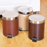 Stainless Steel Metal Garbage Can with Leather Coating
