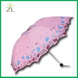 Customized Promotional Folding Ladies Flowers Printing Sun Umbrella