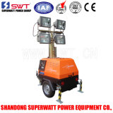 7m 4000W Mobile Light Tower Powered by Air-Cooled Kohler Engine