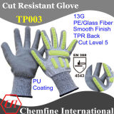 13G PE/Glass Fiber Knitted Glove with PU Smooth Coating & TPR Back/ En388: 4543