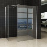 Easy Clean Chrome Frame Bath Glass Shower Screen Side Panel