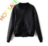 Ladies PU Jacket with Quilting and Metal Zip