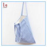 Fabric Plaid Recycle Shopping Handbag Linen Cotton Women Blue Shoulder Bag