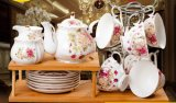 English-Style Bone China Tea Set with Flower (LR-0106)