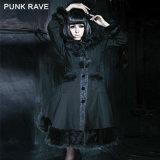 Wholesale Unique Punk Rave Gothic Vintage Fur Coats Sale (LY-045/BK)
