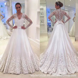 Long Sleeves Bridal Gowns Lace Satin A-Line Wedding Dress M2872