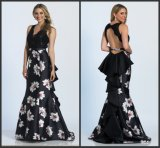 Printed Flowers Lace Wedding Formal Gowns Evening Dress M71303
