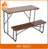 Double Wood Table and Chair of Metal School Furniture