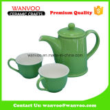 Modern Style Green Ceramic Tea Set with 2 Cups