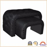 Wooden Set Linen Tufted Bench Ottoman in U Shape with Nailhead Trim