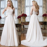 Luxury Sweetheart Chiffon Highly Beaded A-Line Wedding Dresses with Tight Bodice