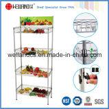 Supermaket Store Metal Fruit Vegetable Display Rack with Basket, NSF Approval