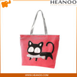 Most Popular Cat Cute Red Large Embroidered Fabric Tote Bags