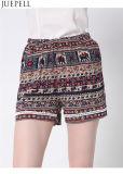 Summer New European and American Women′s Elastic Waist Lace Shorts Beach Pants Big Yards Loose Printed Pants OEM Factory
