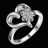 Beautiful Charms Love Heart Flower Wholesale Jewelry Silver Plated Ring
