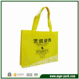 Pure Yellow Custom Non Woven Advertising Bag with Handles