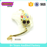 Beautiful Owl Gold Prated Stainless Steel Bracelet with Colorful Stone