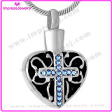 Heart Shape with Cross Pattern Cremation Jewelry Pendants Lockets for Ashes Memorial Jewelry Stainless Steel