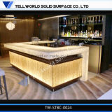 Modern Translucent Sheet Marble LED Bar Counter Artificial Stone Bar Table