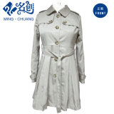 Spring/Autumn Long Sleeve Button Pleated Outer Fashion Dress