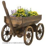 Garden Wood Wagon Flower Planter Pot Stand with Wheels