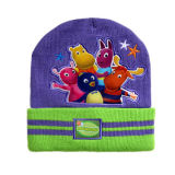 Reversible Knitted Hat with Embroidery