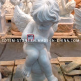 Marble Carved Psyche and Cupid Angel Stone Sculpture for Garden