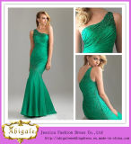 Sexy Mermaid One Shoulder Chiffon with Beads Pleat Floor Length Emerald Green Evening Dress (LH0011)