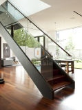 Indoor Wood Tread Straight Staircase with Glass Railing