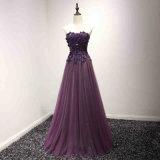 Purple Beading Flower Prom Bridesmaid Gown Evening Dress