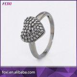 Micro Pave Cubic Zirconia Heart Rhodium Plated Fashion Jewelry Rings