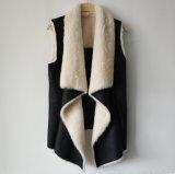 Black Foil Print Suede Vest with Faux Fur Lining