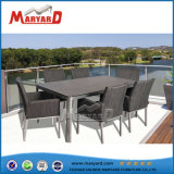 Hot Sale Outdoor Stainless Steel Dining Table and 6 Chairs