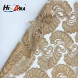 Trade Assurance Customized Logo Printed Lace Fabric with Rhinestone