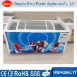 Sliding Curved Glass Door Chest Freezer Refrigerated Ice Cream Showcase