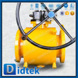 Didtek Carbon Steel Flange Ends Fully Welded Ball Valve with Worm Gear